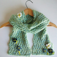 Wavy Green Blue Knitted Scarf With Movable Flowers Long Lace Scarf Boho Art Nouveau Romantic
