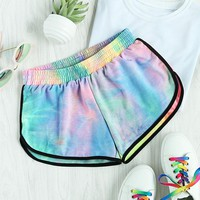Hot Shorts ROMWE Water Color Shirred Waist  Women Multicolor Tie Dye Casual  2017 Fashion Mid Waist Loose Summer AT_43_3