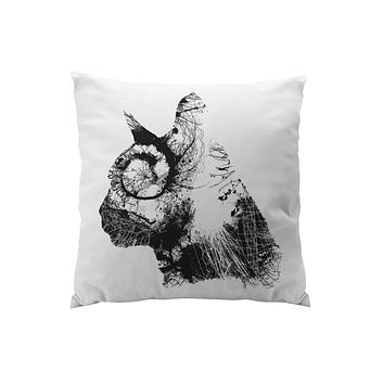 Throw Pillows for Couches / Cat Head in black Chris Keegan
