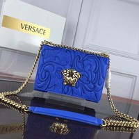 VERSACE WOMEN'S LEATHER EMBROIDERY INCLINED CHAIN SHOULDER BAG-KUYOU