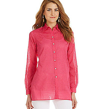 Foxcroft Floral-Burnout Long-Sleeve Tunic