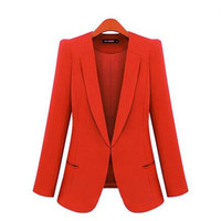 New Spring 2016 Women Blazers plus size fashion female slim blazer Ol Candy Color suit jacket ladies office coat Maxi Size S-4xl