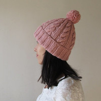 Cable Knit Hat in Powder Pink, Womens Pom Pom hat, Hand Knit Beanie with Folded Brim, Winter Accessories, Wool Blend, For Her, Made to Order