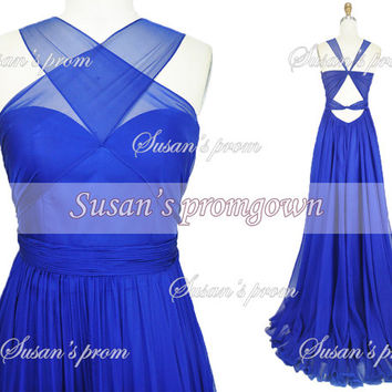2014 prom dress,Halter Backless Blue Chiffon Dresses, Prom Dress,Evening Dress,Wedding Dress,Bridal Dress,Evening Gown,formal dress