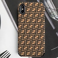 FENDI classic simple double F printing iphone xsmax mobile phone shell all-inclusive soft shell protective cover brown