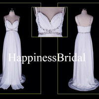 2013 New Arrival A-line Straps Floor-length Chiffon Romantic Bridesmaid Dress Prom Dress Evening Dress Party Dress Formal Dress With Beading