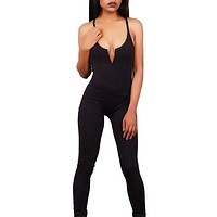 Sexy Women Romper 2017 Summer Solid Color Sleeveless Halter Strap Jumpsuit Elegant Bodycon Long Pant Jumpsuits F1