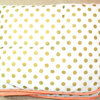 Coral Sunset, Papaya and Gold Dots Baby Bedding   Gold Dots on White, Coral Crib Comforter