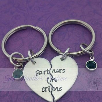 Partners in crime - -  best friend keychains/sister keychains