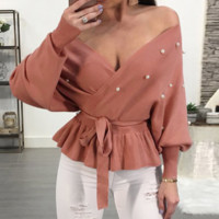 New Slim V-neck Women's Waist Knit Sweater