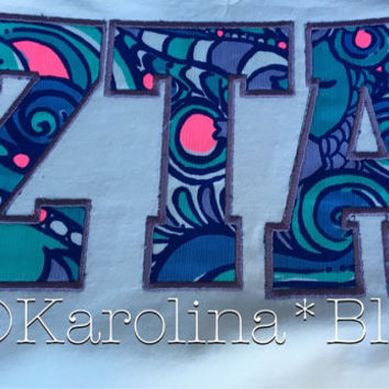 Appliqued Vneck with Sorority letters with Lily Pulitzer fabric.  Several prints to choose from
