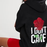 Black I Don't Care Slogan Back Oversized Hoodie