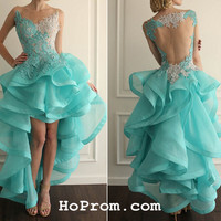 High Low Lace Backless Prom Dresses Backless Prom Dress Lace Evening Dress