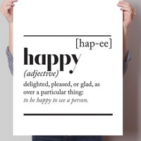 Happy Dictionary Definition Print