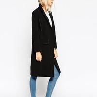 ASOS TALL Coat With Raw Edges And Contrast Lining