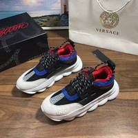Versace  Women Men Fashion Boots fashionable casual leather Breathable Sneakers Running Shoes Sneakers