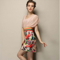 Peach Pleated Shoulder A-Line Printed Dress