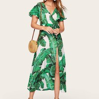 Jungle Leaf Split Self Belted Surplice Dress