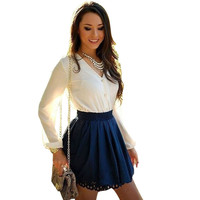 Women Summer Casual long sleeve Party Cocktail Short Mini Dress White Beach Dresses Strapless Casual Dress DM#6