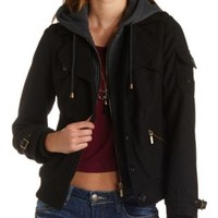 Hooded & Layered Bomber Coat by Charlotte Russe - Black Combo
