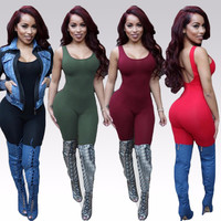 Spring Female Sexy Solid Bodysuits Pencil Slim Casual Backless Sleeveless Rompers 4 Colors Plus Size S-XL Ladies Wears