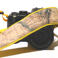 DSLR Camera Strap. World Map Camera Strap. Padded Camera Strap. Camera Accessories. Yellow Camera Strap. Gift Photographer. Etsy Gifts