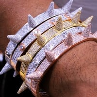 Men's Hip Hop Silver Screw Spike Solitaire Iced Out Bangle Bracelet