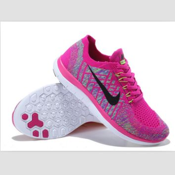 NIKE casual lightweight knitted running shoes Rose red and black