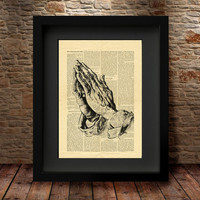 Praying Hands, Dictionary Art Print, Albrecht Durer, Renaissance Prayer Vintage, Wall Art, Religious Gift, beautifully upcycled vintage  -28