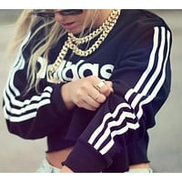 """Adidas"" Fashion Short Shirt Crop Long Sleeve Top Tee"