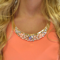 Cheverly Pink Floral Hardware Plate Necklace Set