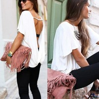 Backless Scoop Short Sleeves Back Cross Casual T-shirt