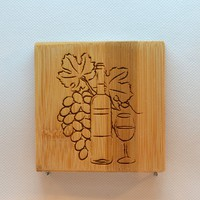 Laser Engraved Bamboo Coaster - Bottle Glass and Grapes