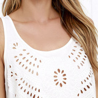 Breezy Beauty Ivory Embroidered Top