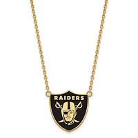 SS 14k Yellow Gold Plated NFL Raiders LG Enamel Necklace, 18 In