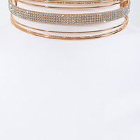 """5.20"""" gold 5 row crystal choker collar necklace multi layer basketball wives"""