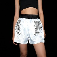 Women Fashion Personality Tiger Embroidery Multicolor Loose Shorts Leisure Pants High Waist Sweatpants