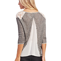 Vintage-Inspired Lace & Chiffon Top | Wet Seal