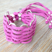 Silver Rings And Suede Bracelet Adjustable in 10 Colors