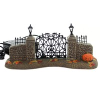 Department 56 Accessory HALLOWEEN VILLAGE GATE Ceramic Lit Accessory 6000665