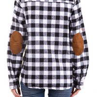 Black & White Flannel Shirt with Elbow Patches