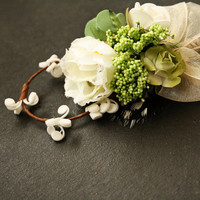 Boutonniere, Lime green and ivory Boutonniere,  Faux flower Boutonniere