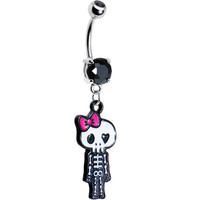 Pink Bow Dangling Skeleton Belly Ring   Body Candy Body Jewelry