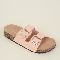 Pink Double Buckle Strap Footbed Sandals | New Look