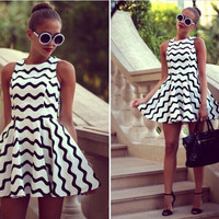 Chevron Print Skater Dress