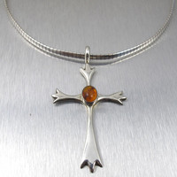 Vintage Baltic Amber Cross. Sterling Silver Amber Cross Collar Choker Necklace, Signed LN Amber Jewelry.