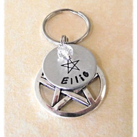 Pentagram Personalised Pagan Dog Collar Charm with Name