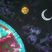 Floating Through the Universe Customizable Tie Dye Tapestry - option 2  - 5ft Ht  X 6ft  Wd