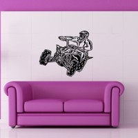 Tribal QUAD Bike ATV Moto Motorbike Jump Motorcycle Motocross Racing Garage Wall Vinyl Decal Art Sticker Home Modern Stylish Interior Decor for Any Room Smooth and Flat Surfaces Housewares Murals Graphic Bedroom Living Room (3495)