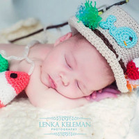 Newbon Baby Boy Photo Prop -  Baby Fly Fishing Hat and Two Crocheted Fish Set - Fishing Prop